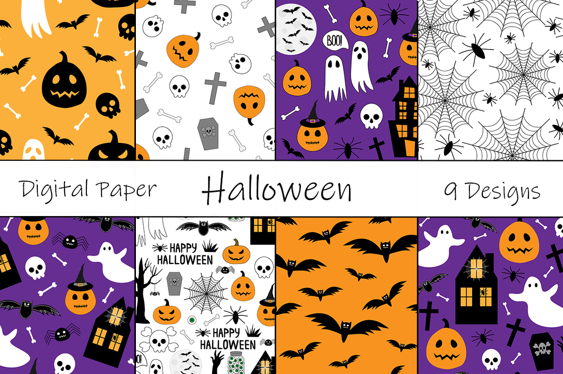 Download Free Set Seamless Pattern Halloween Vector Graphic By Shishkovaiv for Cricut Explore, Silhouette and other cutting machines.