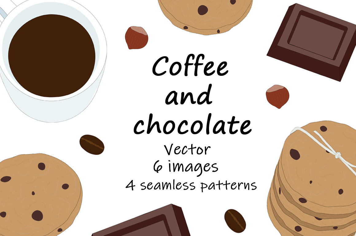 Download Free Set Vector Coffee And Chocolate Graphic By Shishkovaiv for Cricut Explore, Silhouette and other cutting machines.