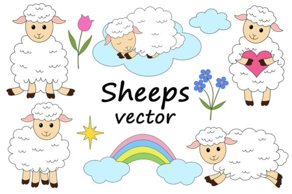 Set of Cute Sheeps Vector Illustrations Graphic Illustrations By shishkovaiv