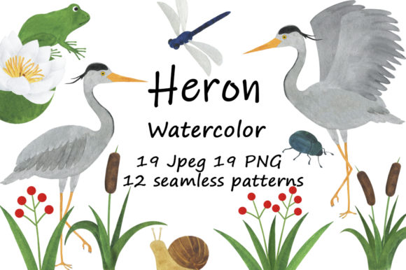 Set of Heron Watercolor Illustrations Graphic Illustrations By shishkovaiv