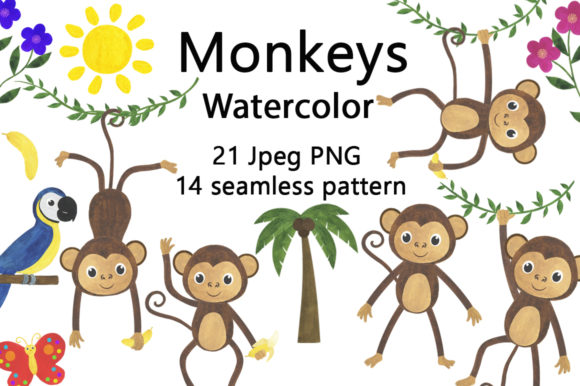 Download Free Set Of Watercolor Monkey Illustrations Graphic By Shishkovaiv for Cricut Explore, Silhouette and other cutting machines.