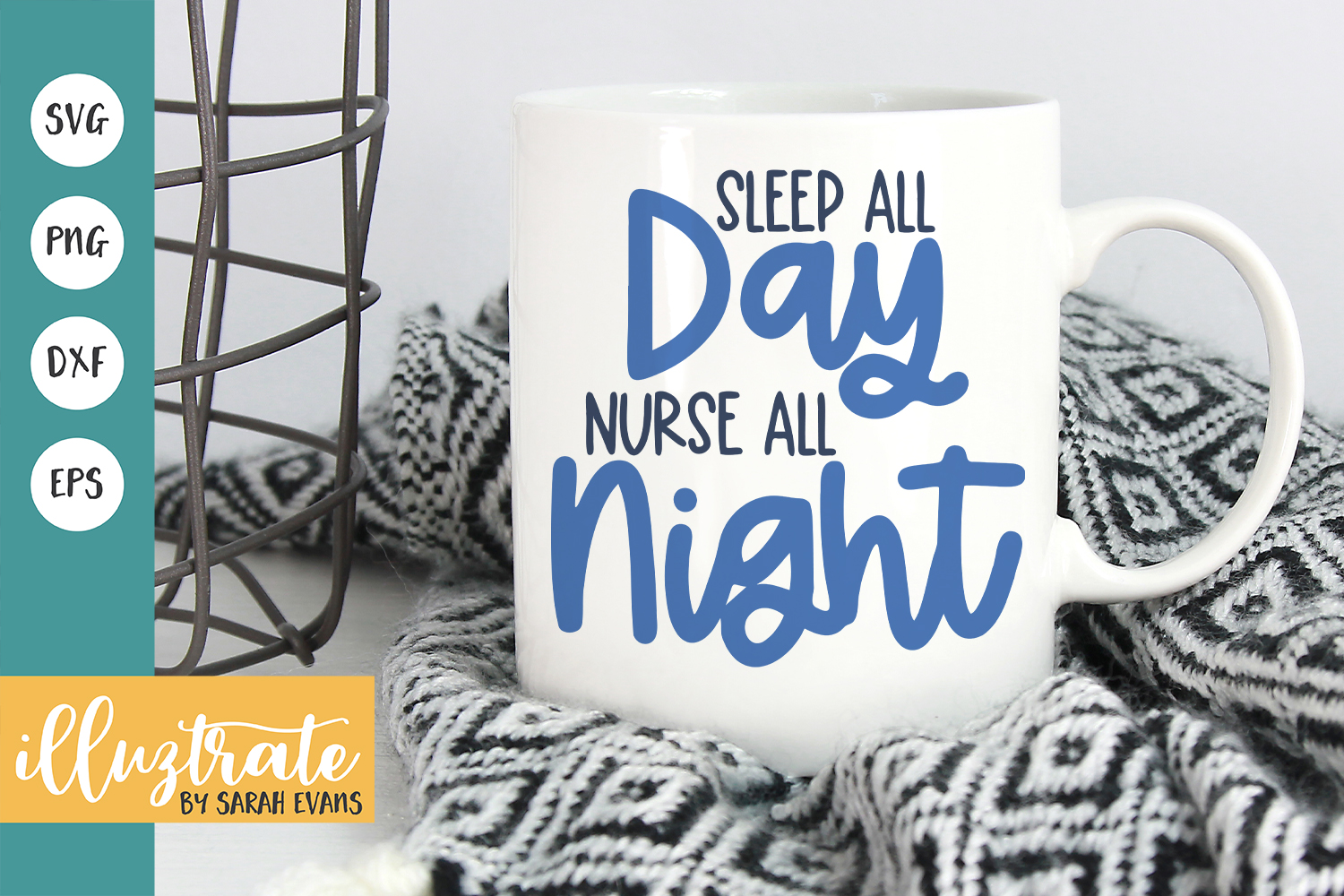 Download Free Sleep All Day Nurse All Night Graphic By Illuztrate Creative for Cricut Explore, Silhouette and other cutting machines.