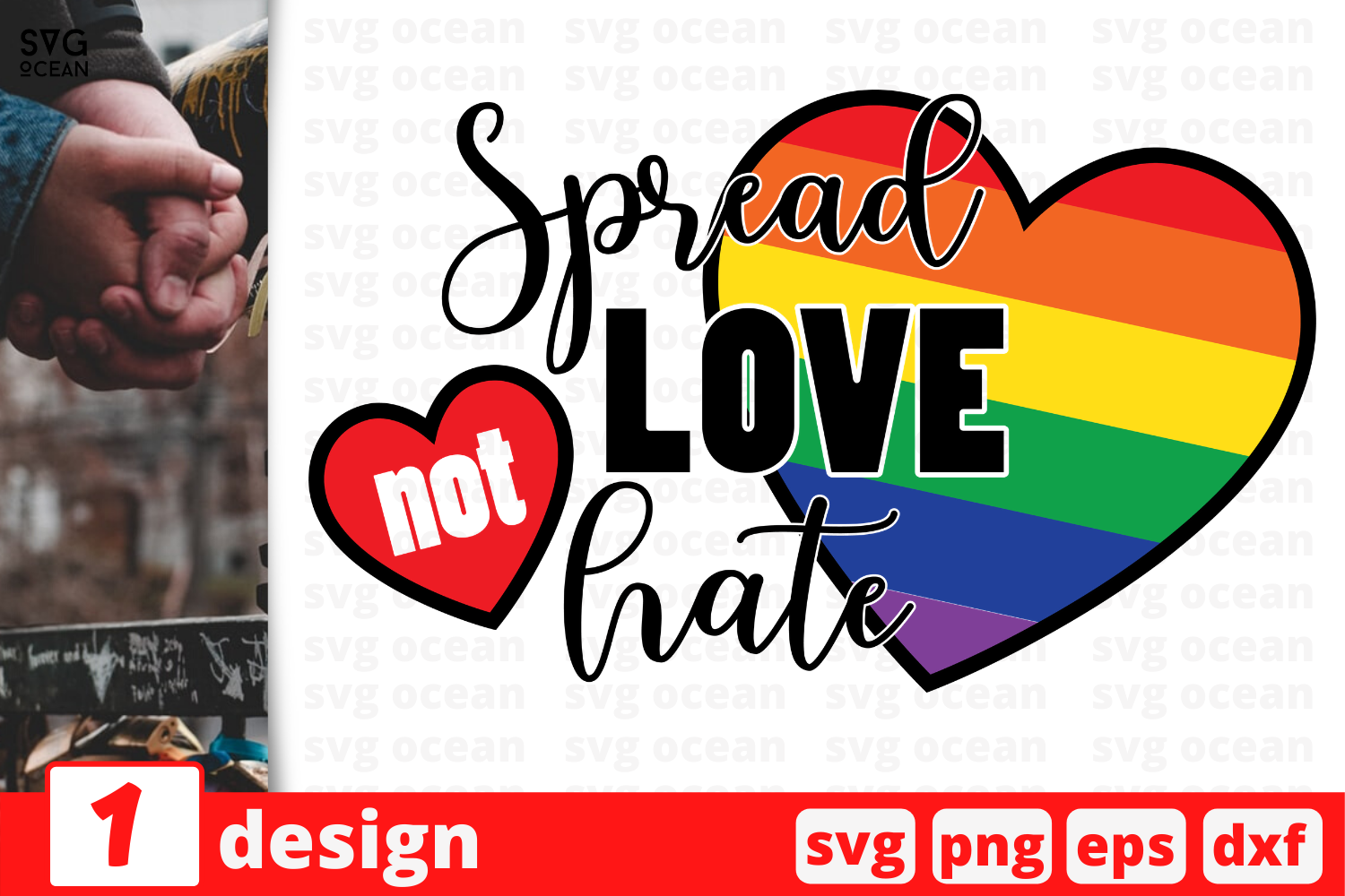 Download Free Spread Love Not Hate Graphic By Svgocean Creative Fabrica for Cricut Explore, Silhouette and other cutting machines.