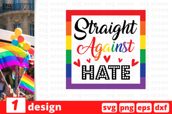 Download Free Straight Against Hate Graphic By Svgocean Creative Fabrica for Cricut Explore, Silhouette and other cutting machines.