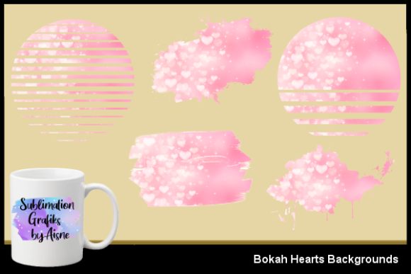 Print on Demand: Sublimation Bokah Hearts Background Graphic Backgrounds By Aisne