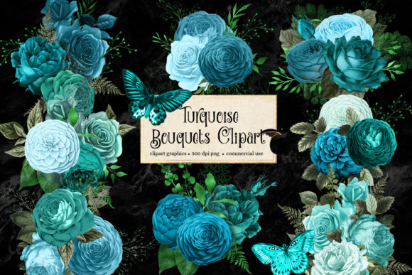 Print on Demand: Turquoise Bouquets Clipart Graphic Illustrations By Digital Curio