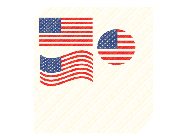 Print on Demand: USA  American Flags Shapes Graphic Graphic Crafts By SVGPlaceDesign