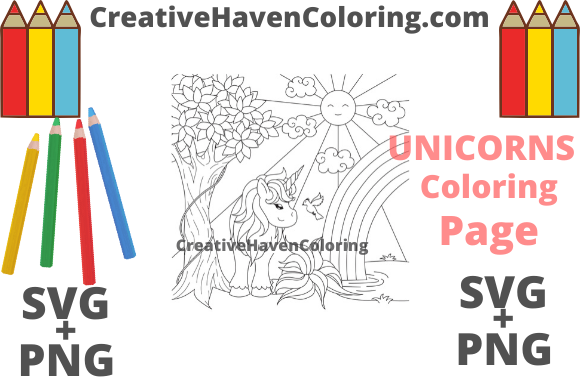 Unicorn Coloring Page 1 Svg Png Files Graphic By