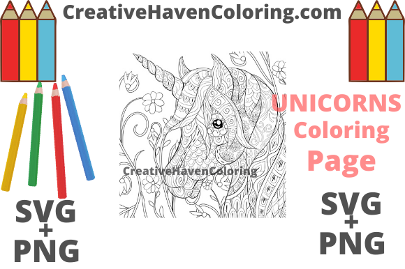 Download Free Unicorn Coloring Page 2 Graphic By Creativehavencoloring for Cricut Explore, Silhouette and other cutting machines.