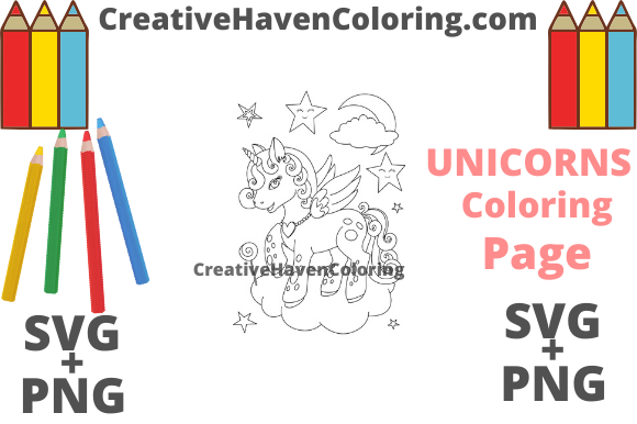 Download Free Unicorn Coloring Page 16 Graphic By Creativehavencoloring for Cricut Explore, Silhouette and other cutting machines.