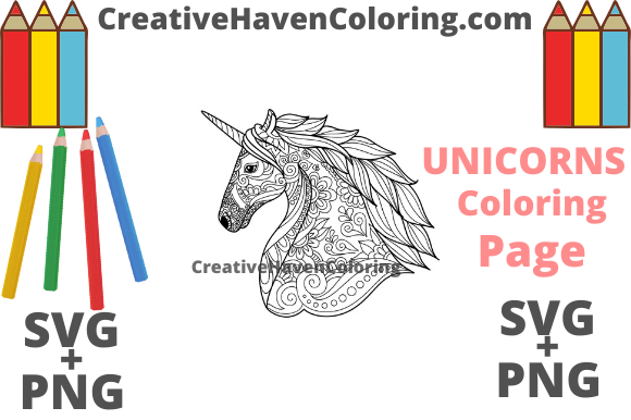 Download Free Unicorn Coloring Page 2 Graphic By Creativehavencoloring Creative Fabrica for Cricut Explore, Silhouette and other cutting machines.