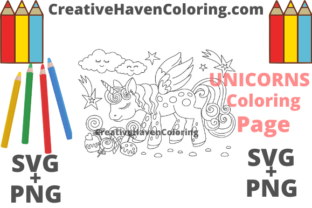 Download Free Unicorn Coloring Page 4 Graphic By Creativehavencoloring for Cricut Explore, Silhouette and other cutting machines.