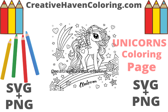Print on Demand: Unicorn Coloring Page #6 Graphic Coloring Pages & Books Adults By creativehavencoloring