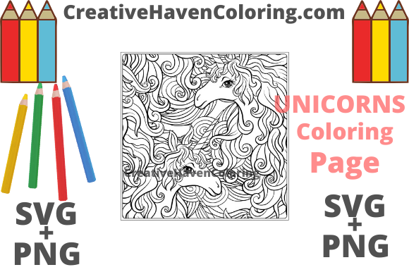 Download Free Unicorn Coloring Page 7 Graphic By Creativehavencoloring Creative Fabrica for Cricut Explore, Silhouette and other cutting machines.
