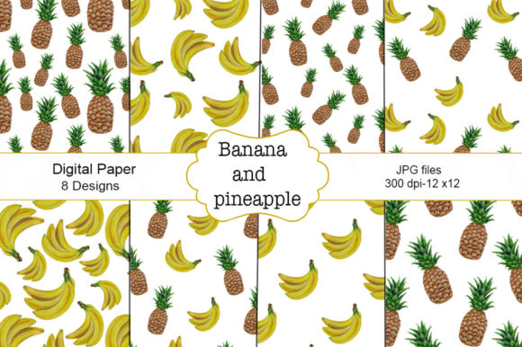 Download Free Watercolor Banana And Pineapple Pattern 6 Graphic By Shishkovaiv for Cricut Explore, Silhouette and other cutting machines.
