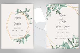 Print on Demand: Watercolor Foliage Wedding Cards Set Graphic Print Templates By FederiqoEND