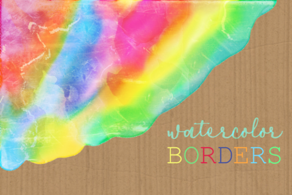 Print on Demand: Watercolor Rainbow Brush Stroke Borders Graphic Backgrounds By Prawny