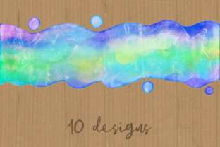 Print on Demand: Watercolor Rainbow Brush Stroke Borders Graphic Backgrounds By Prawny 5
