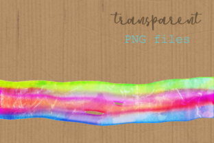 Print on Demand: Watercolor Rainbow Brush Stroke Borders Graphic Backgrounds By Prawny 6