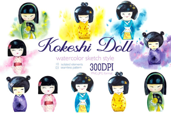 Watercolor Clipart Japanise Doll Kokeshi Graphic Illustrations By Мария Кутузова