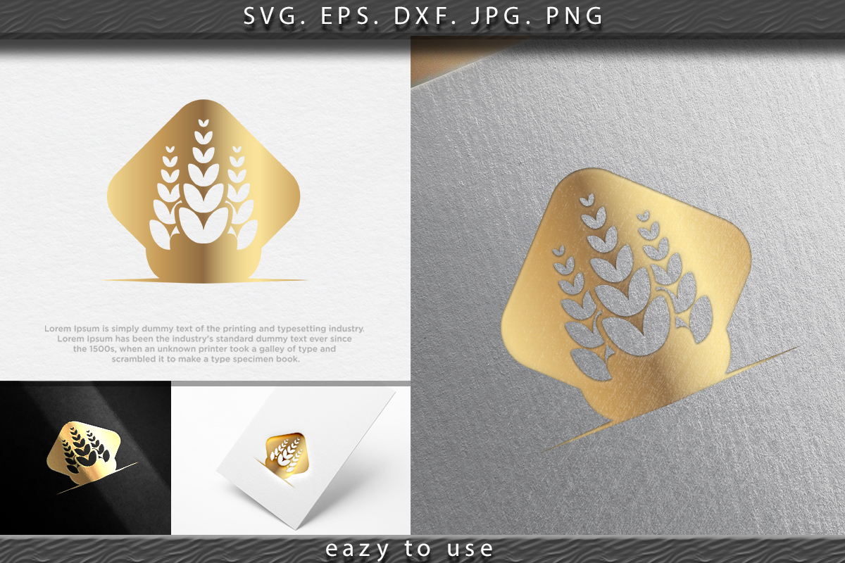 Download Free Wheat Rice Agriculture Logo Ideas Graphic By Ojosujono96 for Cricut Explore, Silhouette and other cutting machines.