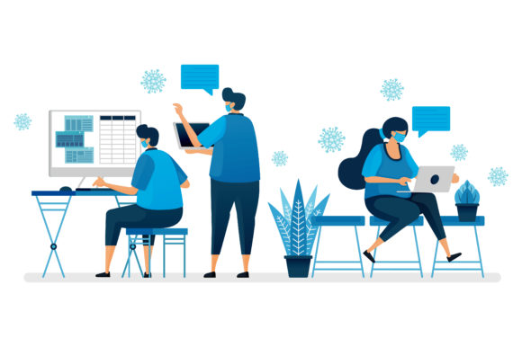 Download Free Back To Office During Covid 19 Pandemic Graphic By for Cricut Explore, Silhouette and other cutting machines.