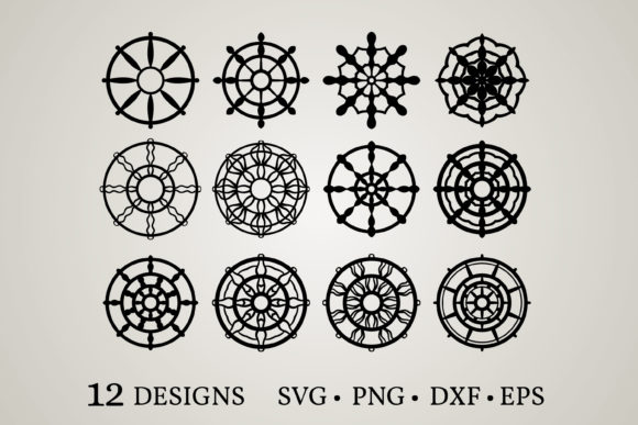 Download Free 1 Ship Wheel Logo Designs Graphics for Cricut Explore, Silhouette and other cutting machines.