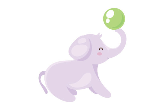 Download Free Baby Elephant Playing With Ball Svg Cut File By Creative Fabrica for Cricut Explore, Silhouette and other cutting machines.