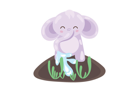 Download Free Baby Elephant Watering Plants Svg Cut File By Creative Fabrica for Cricut Explore, Silhouette and other cutting machines.