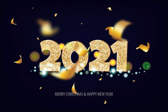 2021 Happy New Year Golden Banner Graphic Illustrations By Kapitosh