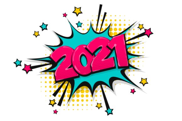 2021 Happy New Year Christmas Comic Text Graphic Illustrations By Kapitosh