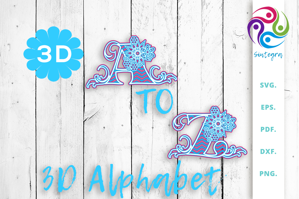 Download Free 3d Multilayer Floral Alphabet Bundle Bundle Creative Fabrica for Cricut Explore, Silhouette and other cutting machines.