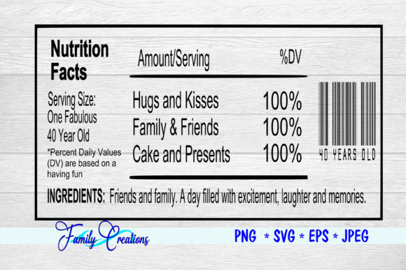 Download Free 40 Year Old Nutrition Label Graphic By Family Creations for Cricut Explore, Silhouette and other cutting machines.