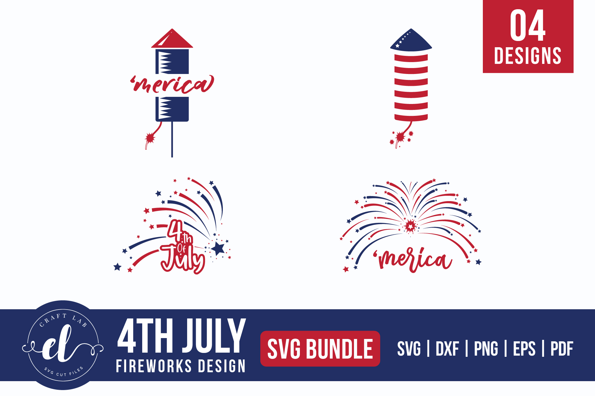Download Free 4th Of July American Firework Bundle Graphic By Craftlabsvg for Cricut Explore, Silhouette and other cutting machines.