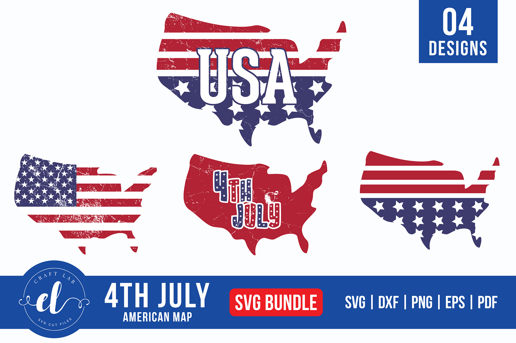 Download Free 4th Of July American Map Bundle Graphic By Craftlabsvg SVG Cut Files