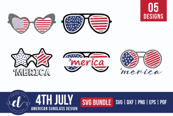 4th of July American Sunglass Bundle Graphic Crafts By CraftlabSVG
