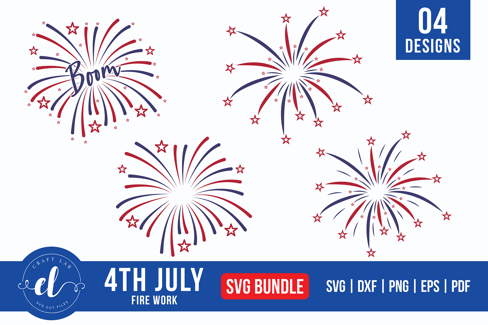 Download Free 4th Of July Firework Bundle Graphic By Craftlabsvg Creative for Cricut Explore, Silhouette and other cutting machines.