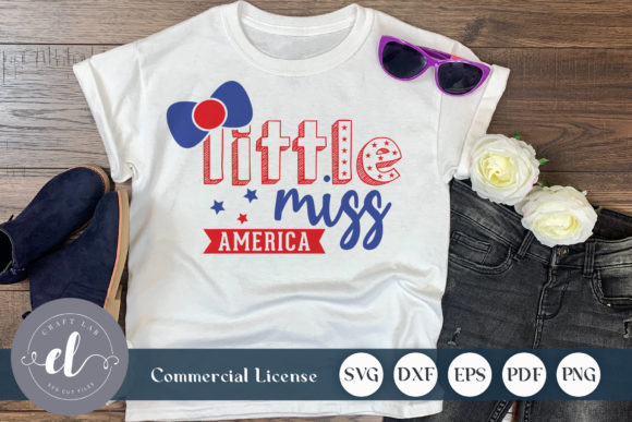 Download Free 4th Of July Little Miss America Graphic By Craftlabsvg for Cricut Explore, Silhouette and other cutting machines.