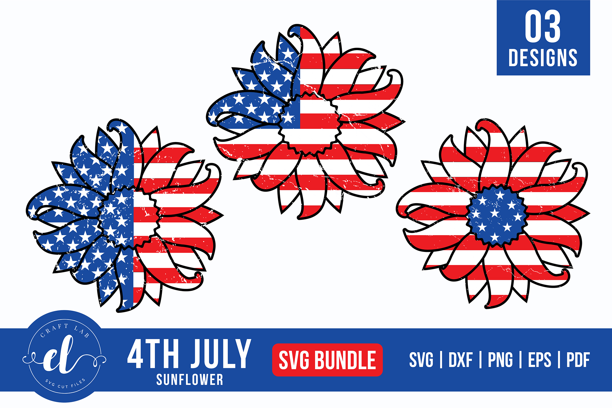 Download Free 4th Of July Sunflower Bundle Graphic By Craftlabsvg Creative for Cricut Explore, Silhouette and other cutting machines.