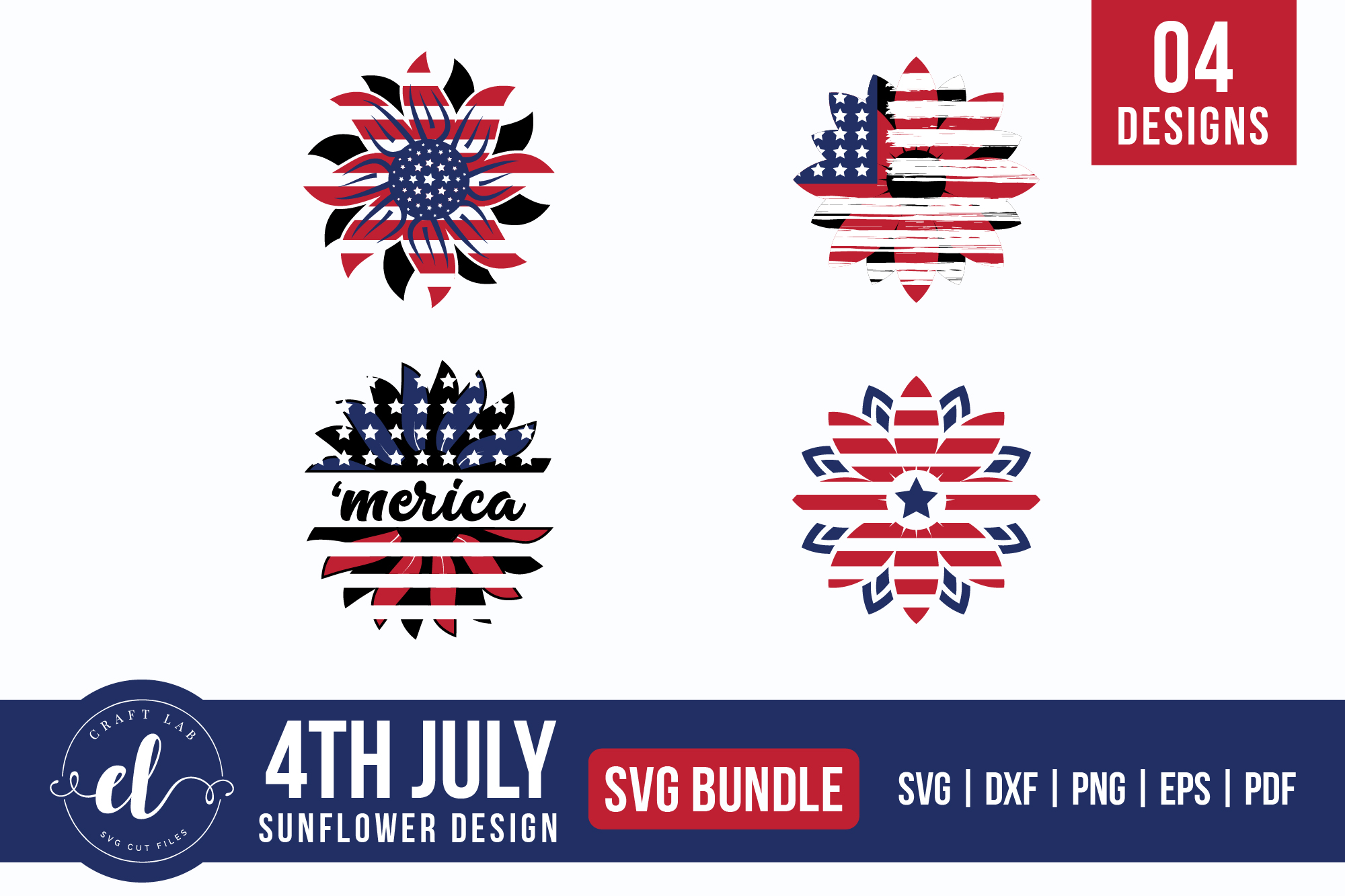 Download Free 4th Of July Sunflower Bundle Graphic By Craftlabsvg Creative SVG Cut Files