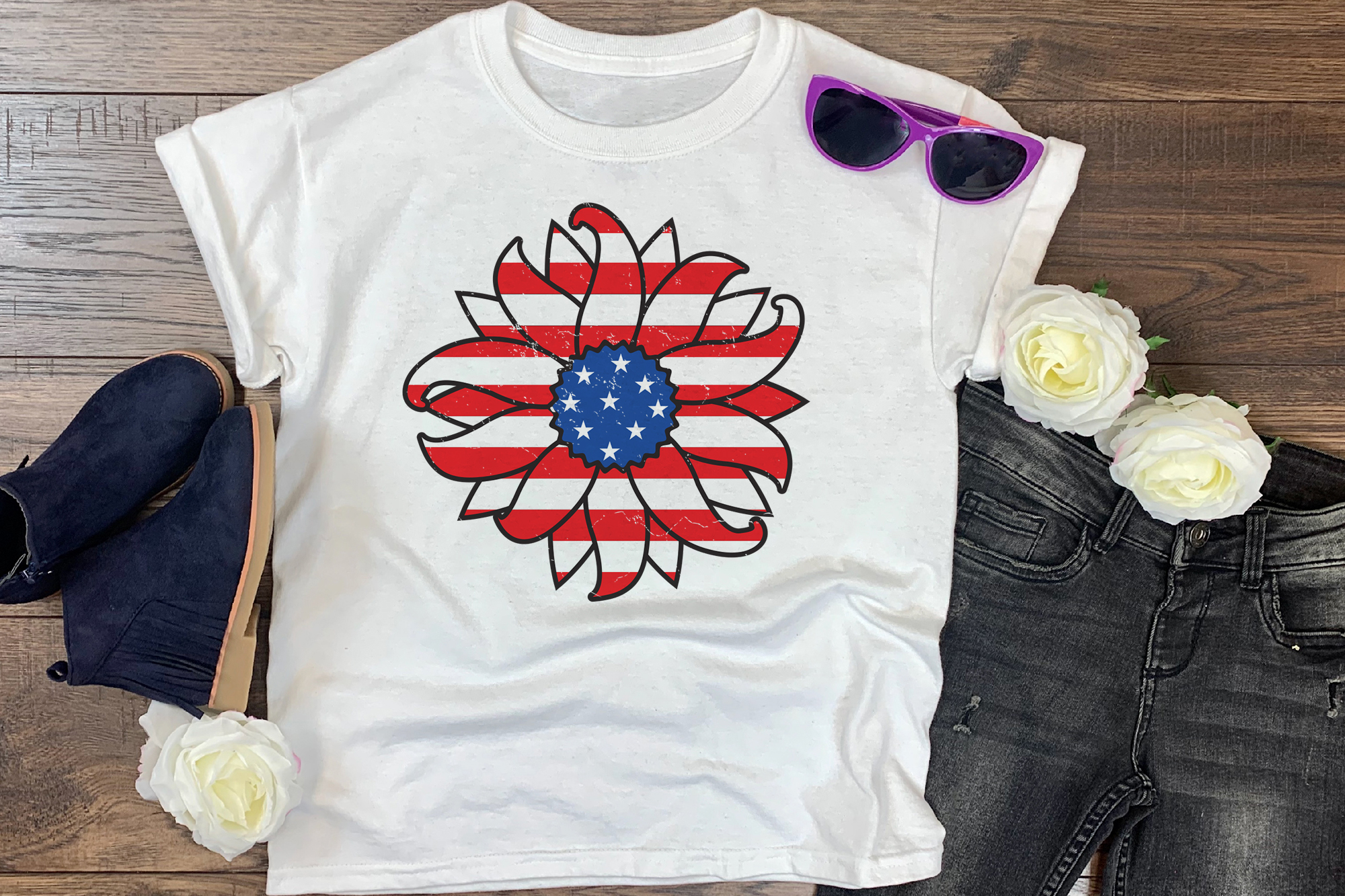Download Free 4th Of July Sunflower Graphic By Craftlabsvg Creative Fabrica for Cricut Explore, Silhouette and other cutting machines.