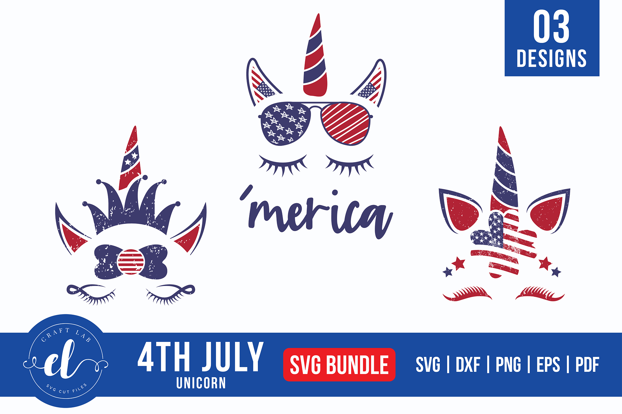 Download Free 4th Of July Unicorn Bundle Graphic By Craftlabsvg Creative Fabrica for Cricut Explore, Silhouette and other cutting machines.