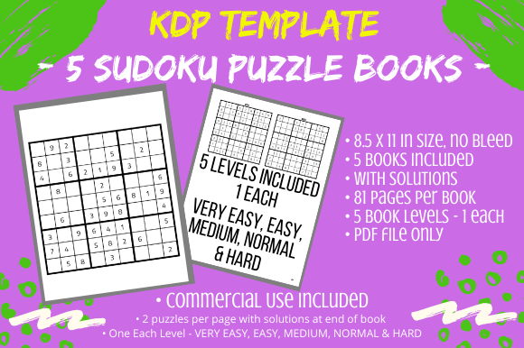 Download Free 5 Sudoku Puzzle Books Bundle 5 Levels Graphic By Tomboy Designs for Cricut Explore, Silhouette and other cutting machines.