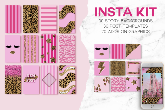 Download Free 80 Template Pink Cheetah Instagram Graphic By Theggshop for Cricut Explore, Silhouette and other cutting machines.