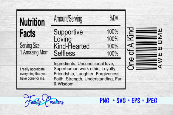 Download Free Amazing Mom Nutrition Label Graphic By Family Creations for Cricut Explore, Silhouette and other cutting machines.