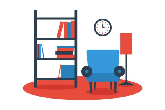 Armchair with Floor Lamp, Bookshelf Flat Graphic Illustrations By Kapitosh