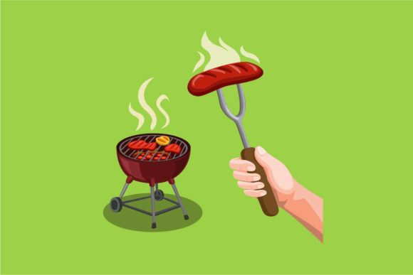 Download Free Bbq Party Steak Meat In Grill Sausage Graphic By Aryo Hadi Creative Fabrica for Cricut Explore, Silhouette and other cutting machines.