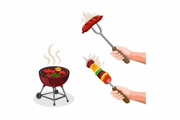 Print on Demand: BBQ Party Steak and Kaboob Grill Food Graphic Illustrations By aryo.hadi