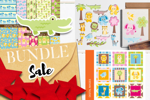 Print on Demand: Baby Animals Safari Bundle Graphic Illustrations By Revidevi
