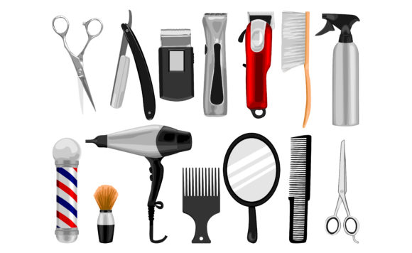 Print on Demand: Barbershop Tools Vector Illustration Set Graphic Crafts By Arief Sapta Adjie